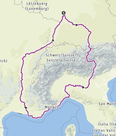 מפה / Rundtour 2800 Kilometer rund um die Schweiz