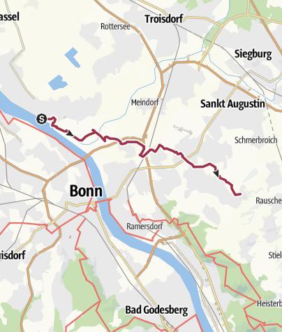 Karte / Bonnpfad, 1. Etappe (rechtsrheinisch) von Niederkassel-Mondorf bis Bonn-Hoholz-Mitte