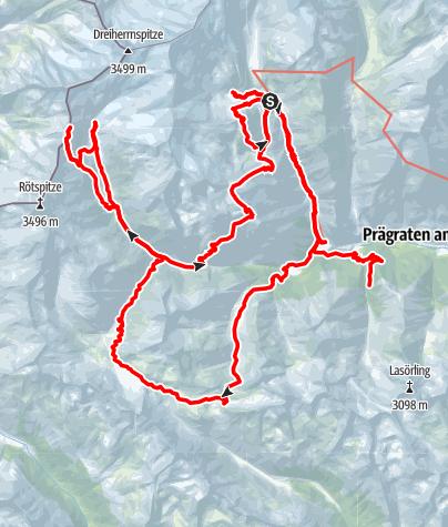 Karte / Hüttentour mit Suchtpotenzial über Großbachtal, Dabertal, Umbaltal zum Maurertal