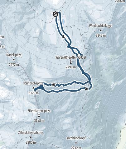 Karte / Skitour von der Richterhütte auf die Rainbachspitze