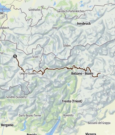 Karte / transalp 2018 - Davos - Wolkenstein (Gröden)