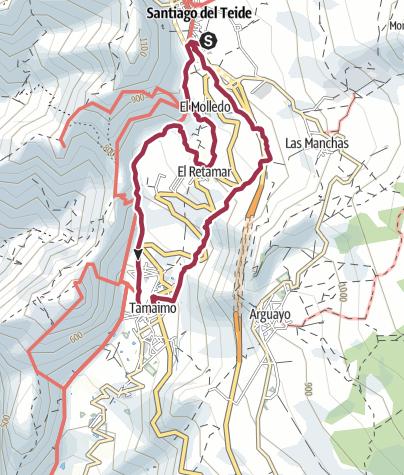 Map / 21. März 2018 Mittwochswanderung ab Santiago del Teide nach Tamaimo