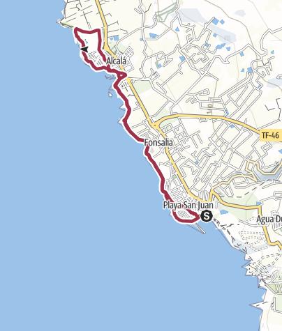 Karte / 23. März 2018 Freitags-Küstenwanderung ab Playa San Juan nach Alcala