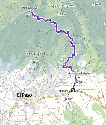 Karte / 23. März 2018 auf den Pico Bejenado