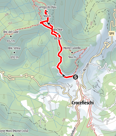 Karte / Deanna Ferrata Orlandini - Klettersteig bei Genua im Apennin