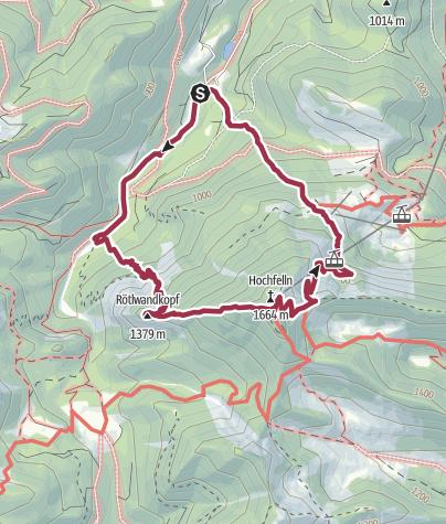 Karte / Hochfelln (1664m) übers Wasserwandl