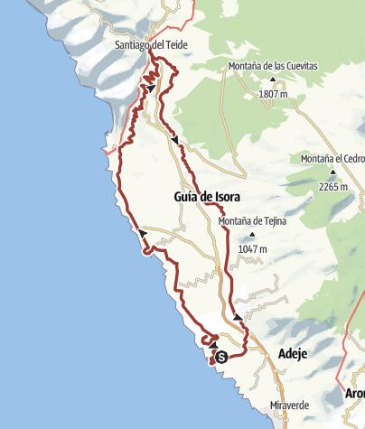 Karte / 1. April 2018 Ostersonntag Rollertour nach Santiago del Teide