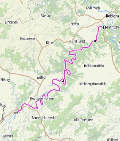Karte / Moseltour von Winningen nach Trier