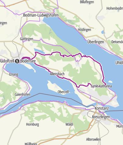 Karte / E-Bike Tour Radolfzell-Wallhausen-Mainau-Hegne-Radolfzell