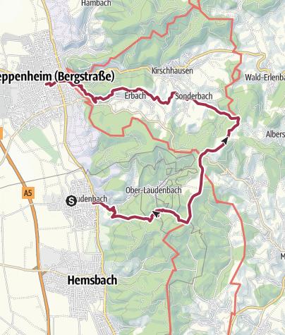 Karte / Von Laudenbach nach Heppenheim