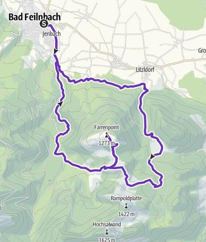 Karte / TR - Rund um und auf den Farrenpoint - 21km - 1050hm