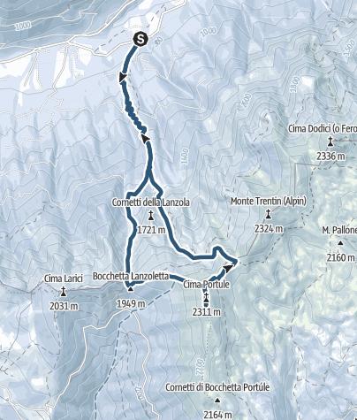 Cartina / Cima Portule dalla Val di Sella