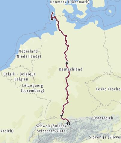Karte / Deutschland der Länge nach - 1800 km, 75 Tage, 7 Bundesländer