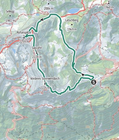 Map / Bayreuther Hütte -Rofanspitze-Sagzahn-Vorderes Sonnwendjoch