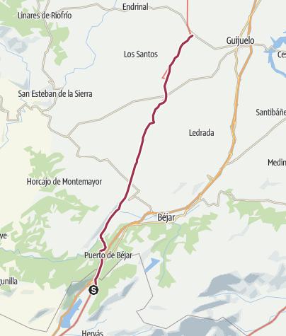 Map / Banos de Montemayor - Fuenteroble de Salvatierra - 20. Tag: Von Spaniens tiefstem Süden bis ans Ende der Welt - Auf der Via de la Plata unterwegs