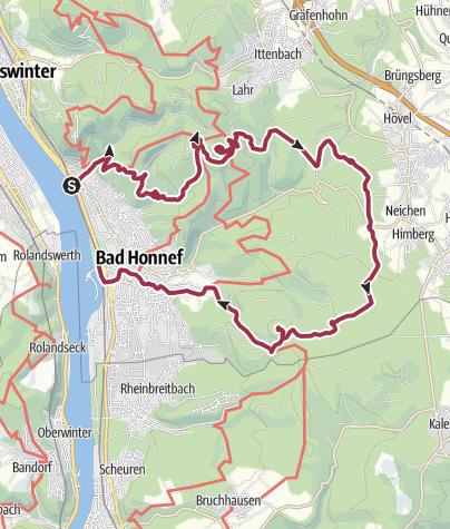 Map / Zwei Gipfel und drei Täler im südlichen Siebengebirge