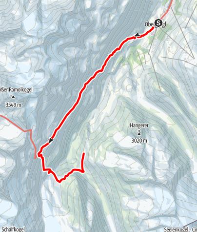 Karte / Langtalereckhütte (2430m) von Obergurgl über die Hängebrücke