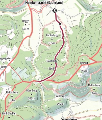 Karte / Zugangsweg Sauerland-Höhenflug: Von Meinkenbracht zum Sauerland-Höhenflug