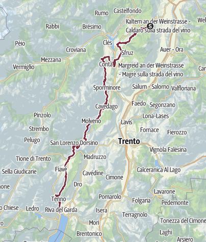 Karte / Von der Mendel über Molveno zum Gardasee