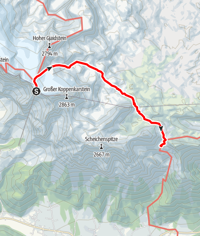 Karte / Etappe 01 Vom Gletscher zum Wein Südroute Dachstein Seilbahn - Guttenberghaus
