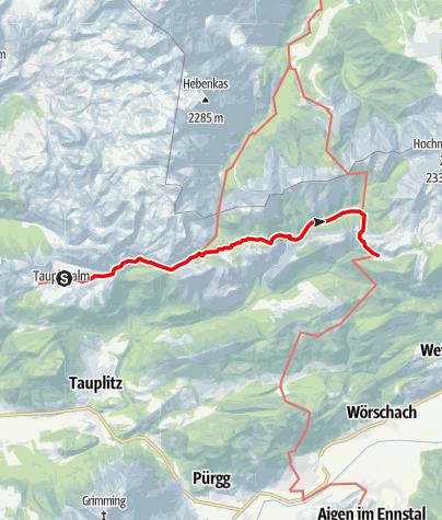 Karte / Etappe 05 Vom Gletscher zum Wein Nordroute Tauplitzalm - Hochmölbinghütte