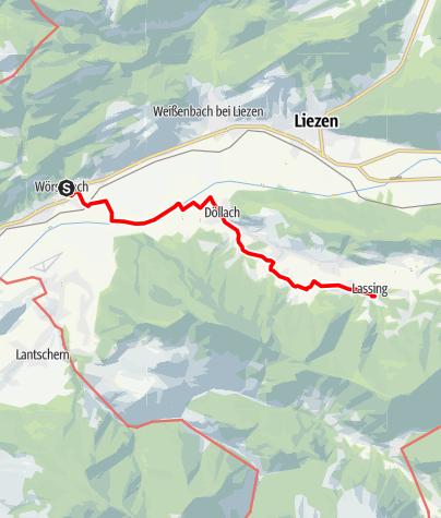 Karte / Etappe 07 Vom Gletscher zum Wein Nordroute Wörschach - Lassing