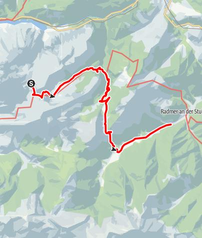 Karte / Etappe 11 Vom Gletscher zum Wein Nordroute Gesäuse Heßhütte - Radmer