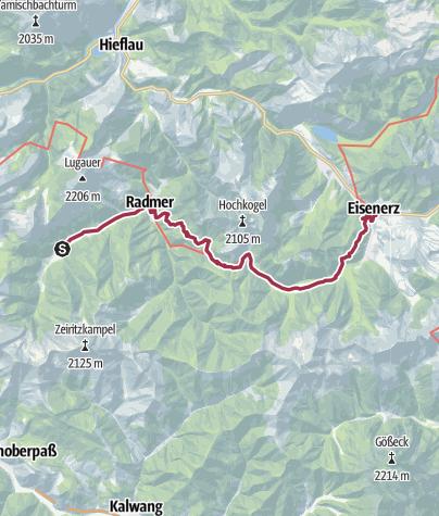 Karte / Etappe 12 Vom Gletscher zum Wein Nordroute Radmer - Eisenerz