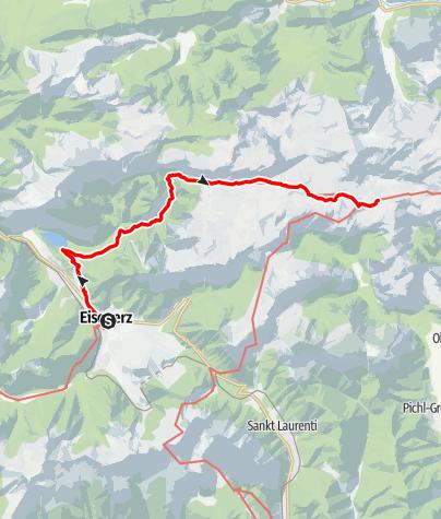 Karte / Etappe 13 Vom Gletscher zum Wein Nordroute Eisenerz - Hochschwab Sonnschienalm