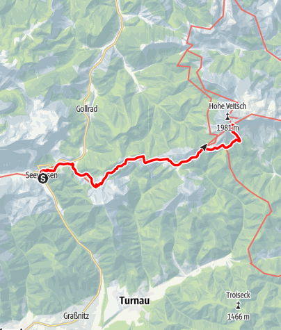 Karte / Etappe 16 Vom Gletscher zum Wein Nordroute Seewiesen - Veitsch Graf Meran Haus