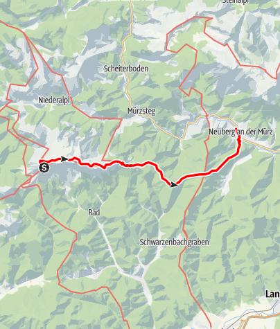 Karte / Etappe 17 Vom Gletscher zum Wein Nordroute Veitsch Graf Meran Haus - Neuberg an der Mürz