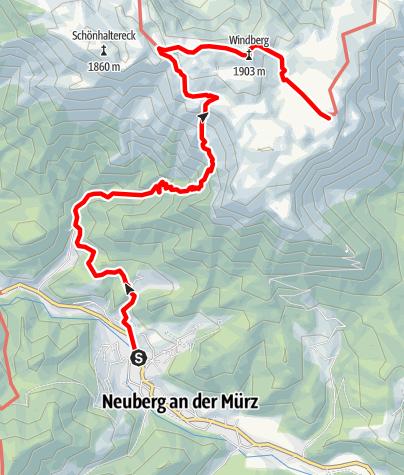 Karte / Etappe 18 Vom Gletscher zum Wein Nordroute Neuberg an der Mürz - Schneealm