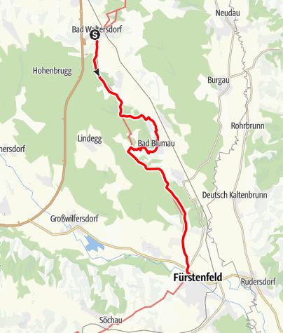 Karte / Etappe 29 Vom Gletscher zum Wein Nordroute Bad Waltersdorf - Fürstenfeld