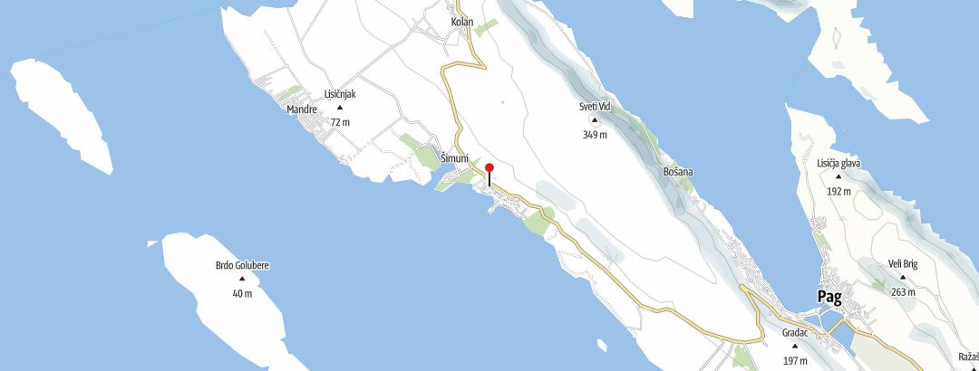 Karte / Von Simuni zum höchsten Punkt von Pag