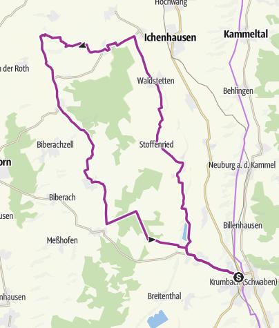 Karte / Rundtour von Krumbach ins Osterbachtal
