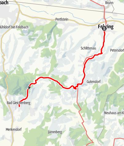 Karte / Etappe 33 Vom Gletscher zum Wein Nordroute Fehring - Bad Gleichenberg