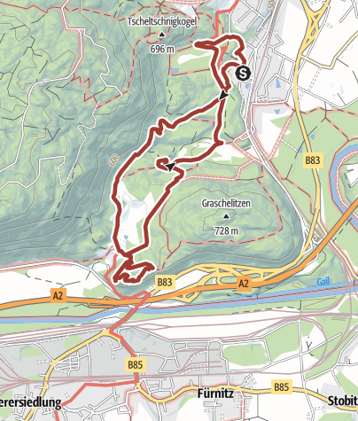 Map / Römerweg – Ruine-Federaun – Maibachl