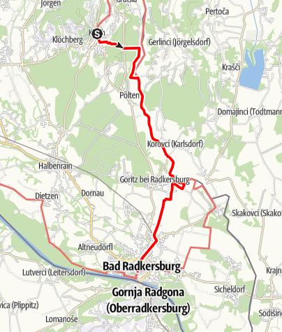 Karte / Etappe 35 Vom Gletscher zum Wein Nordroute Klöch - Bad Radkersburg