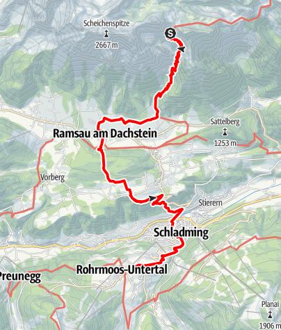 Karte / Etappe 02 Vom Gletscher zum Wein Südroute Guttenberghaus - Rohrmoos