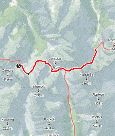 Karte / Etappe 05 Vom Gletscher zum Wein Südroute Keinprechthütte - Gollinghütte