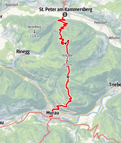 Karte / Etappe 10 Vom Gletscher zum Wein Südroute St. Peter am Kammersberg - Murau