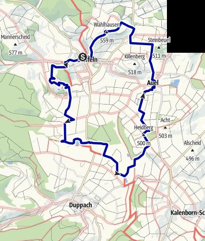 Karte / Zeugnisse des Vulkanismus und des kulturellen Erbes der Eifel um Steffeln