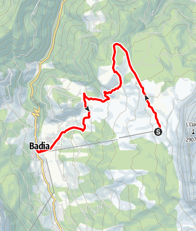 Map / From Badia to the sanctuary of La Crusc/S.Croce and back through the Armentara meadows