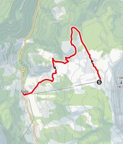 Cartina / Da Badia a La Crusc/S.Croce e ritorno per i prati di Armentara