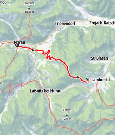 Karte / Etappe 11 Vom Gletscher zum Wein Südroute Murau - St. Lambrecht