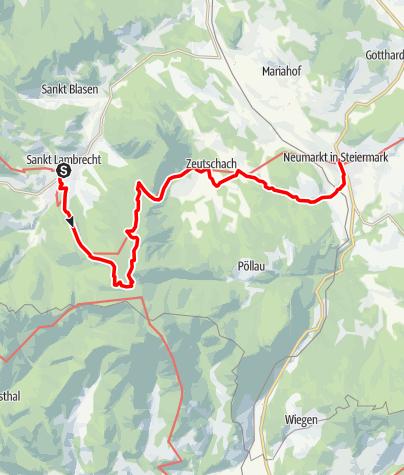 Karte / Etappe 12 Vom Gletscher zum Wein Südroute St. Lambrecht - Neumarkt