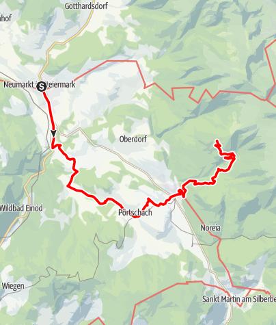 Karte / Etappe 13 Vom Gletscher zum Wein Südroute Neumarkt - Tonnerhütte Zirbitzkogel
