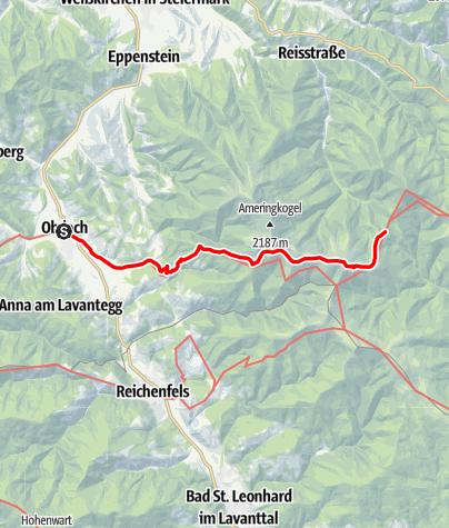Karte / Etappe 15 Vom Gletscher zum Wein Südroute Obdach - Salzstiegl