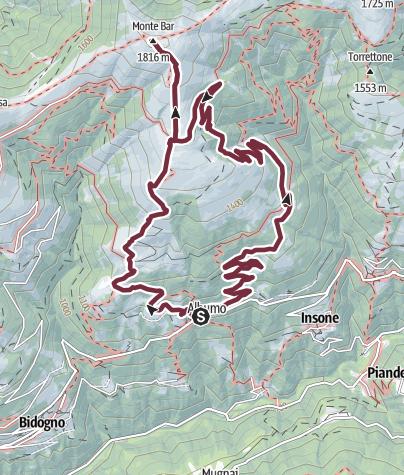 Mappa / Corticiasca (1008 m) - M. Bar (1816 m)