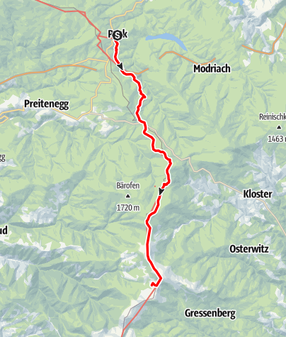 Karte / Etappe 17 Vom Gletscher zum Wein Südroute Pack - Glashütten